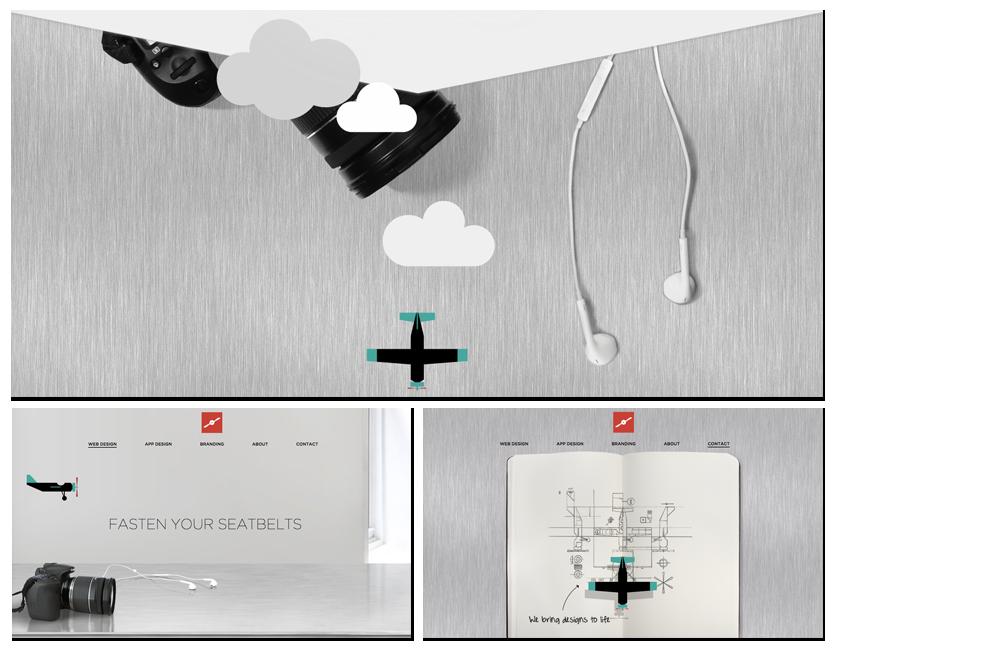 Fluger Design sendet Nutzer mit einem Flugzeug auf Entdeckungstour durch ihre Website.