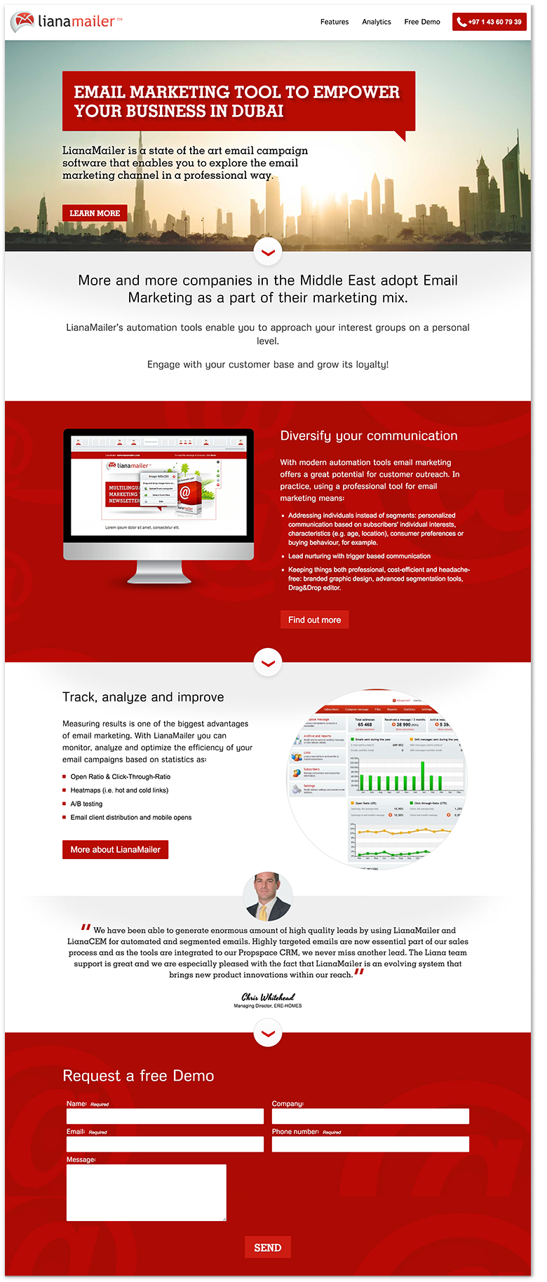 Die Landing Page ist in diesem Fall für den Markt in Dubai erstellt.